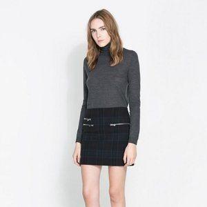 ZARA Check Print Mini Skirt with Zips